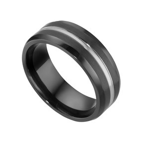 Titanring Titan PVD Beschichtung (schwarz) Streifen Rillen Linien