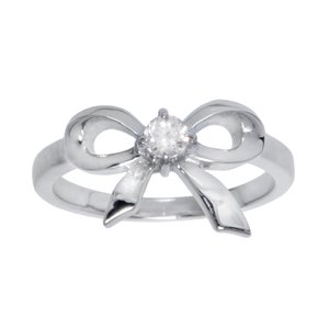 Fingerring Stainless Steel zirconia Ribbon Bow Hair_bow