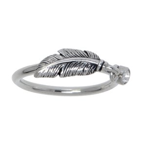 Fingerring Stainless Steel Crystal Feather