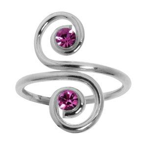 Fingerring Silber 925 Kristall Spirale
