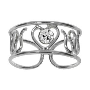 Fingerring Silver 925 Crystal Heart Love Wave