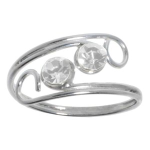 Fingerring Silver 925 Crystal Spiral