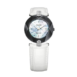 JOWISSA Watch Stainless Steel Mineral glass Mother-of-Pearl Dial Leather Crystal Star Fur Fur_pattern Animal_Print