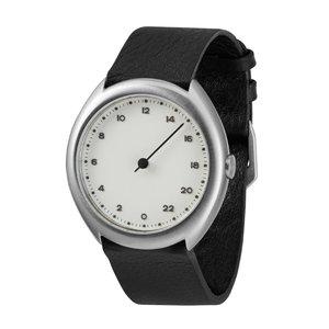 slow Uhr Edelstahl Mineralglas Leder