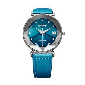 JOWISSA Reloj Acero fino Cristal mineral Cristal Cuero Satén Estrella