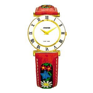 JOWISSA Reloj Acero fino Cristal mineral Cuero Flor
