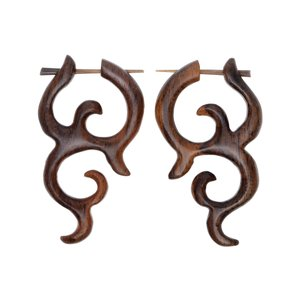 Earrings Sono wood Tribal_pattern
