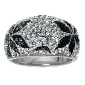 Bague de doigt Argent 925 Cristal Feuille Motif_floral