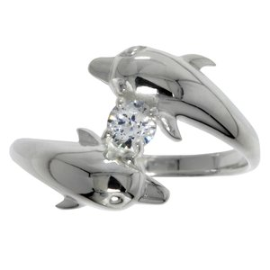 Ring Silver 925 Crystal Dolphin
