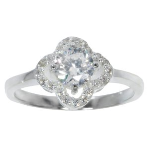 Ring Silver 925 Crystal Flower