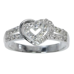 Fingerring Silber 925 Kristall Herz Liebe Love Liebe