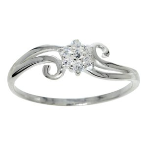 Ring Silver 925 Crystal Flower Leaf Plant_pattern