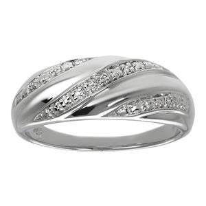 Ring Silver 925 zirconia Wave Stripes Grooves Rills