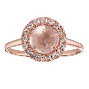 Ring Silver 925 PVD-coating (gold color) zirconia Rose quartz