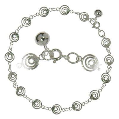 Fusskettchen Silber 925 Spirale Glocke Glöckchen