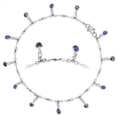 Fusskettchen Silber 925 Kristall Glocke Glöckchen