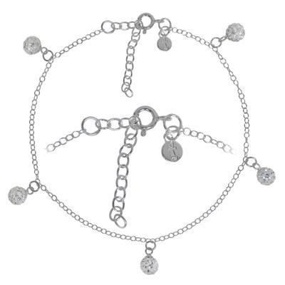 Kinder Fusskettchen Kristall Silber 925