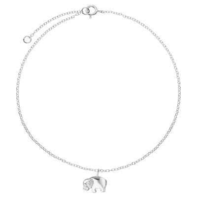 Fusskettchen Silber 925 Zirkonia Ganesha Elefant
