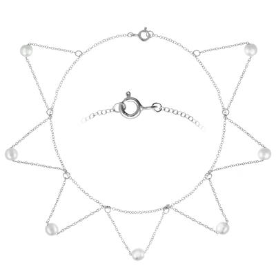 Fusskettchen Silber 925 Synthetische Perle Dreieck