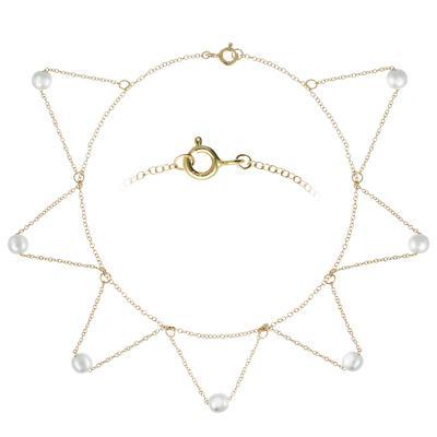 Fusskettchen Silber 925 Synthetische Perle Gold-Beschichtung (vergoldet) Dreieck