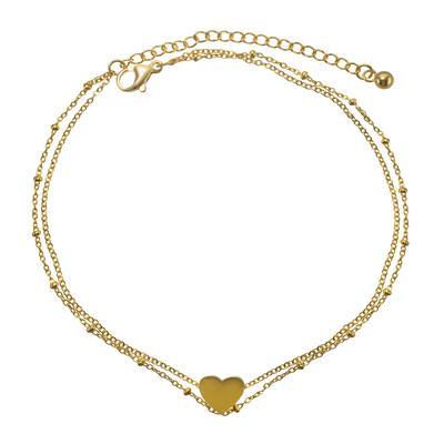 Fusskettchen Edelstahl PVD Beschichtung (goldfarbig) Herz Liebe