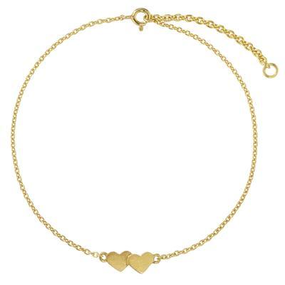 Fusskettchen Silber 925 Gold-Beschichtung (vergoldet) Herz Liebe