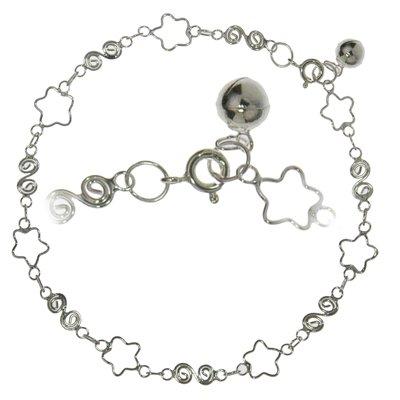 Fusskettchen Silber 925 Stern Spirale Glocke Glöckchen