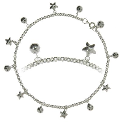 Fusskettchen Silber 925 Stern Glocke Glöckchen