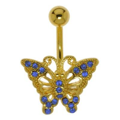 Bauchpiercing Chirurgenstahl 316L PVD Beschichtung (goldfarbig) Messing Kristall Schmetterling Sommervogel