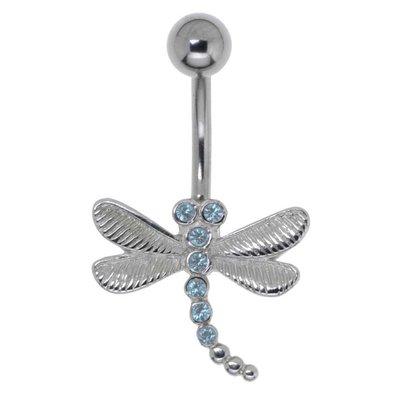 Bauchpiercing Chirurgenstahl 316L Messing rhodiniert Kristall Libelle