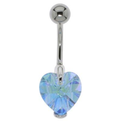 Bauchpiercing Chirurgenstahl 316L Silber 925 Swarovski Kristall Herz Liebe