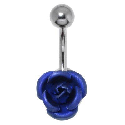 Bauchpiercing Chirurgenstahl 316L Messing rhodiniert Rose Blume