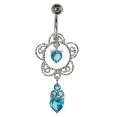 Bauchpiercing Chirurgenstahl 316L Silber 925 Kristall Blume Herz Liebe