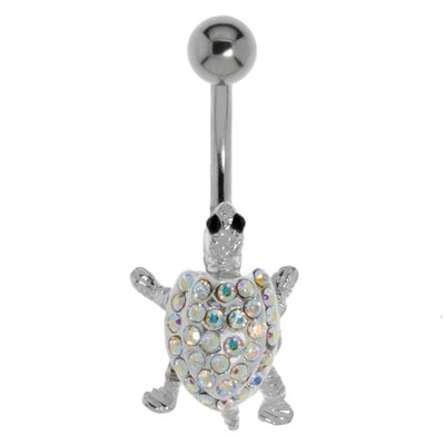 Bauchpiercing Chirurgenstahl 316L Silber 925 Kristall Schildkröte