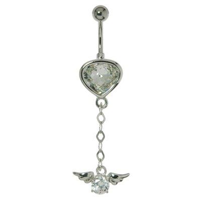 Bauchpiercing Chirurgenstahl 316L Silber 925 Swarovski Kristall Tropfen Tropfenform Wassertropfen Flügel