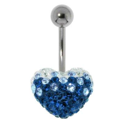Bauchpiercing Chirurgenstahl 316L Kristall Herz Liebe