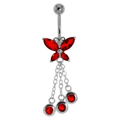 Bauchpiercing Chirurgenstahl 316L Zirkonia Silber 925 Schmetterling Sommervogel