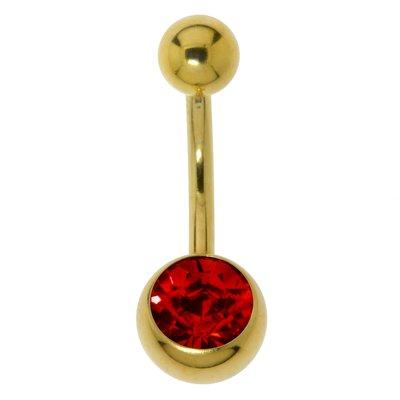 Bauchpiercing Chirurgenstahl 316L PVD Beschichtung (goldfarbig) Kristall