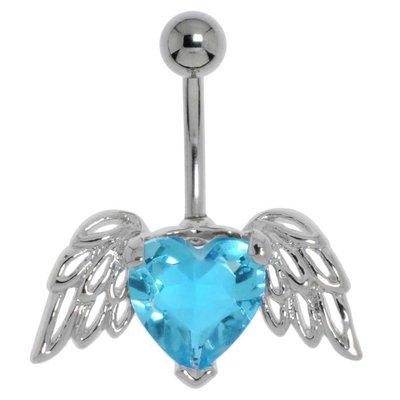 Bauchpiercing Chirurgenstahl 316L Messing rhodiniert Kristall Herz Liebe Flügel