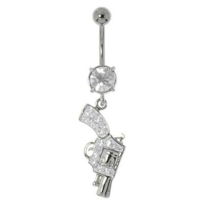 Piercing nombril Acier chirurgical 316L Laiton rhodié Cristal Pistole Pistolet Revolver