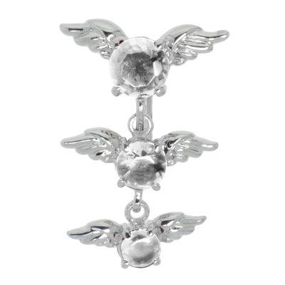 Bauchpiercing Chirurgenstahl 316L Zirkonia Messing rhodiniert Flügel