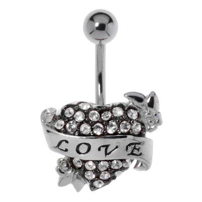 Bauchpiercing Chirurgenstahl 316L Silber 925 Kristall Love Liebe Herz Liebe
