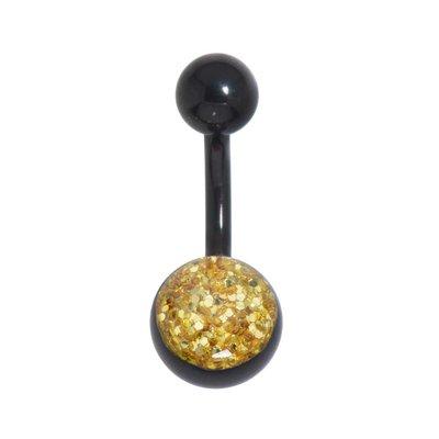 Piercing ventre Metallo chirurgico 316L Rivestimento PVD (nero) Resina epossidica