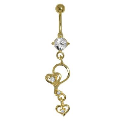 Bauchpiercing Chirurgenstahl 316L Gold-Beschichtung (vergoldet) Kristall Herz Liebe