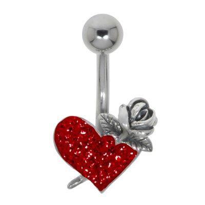 Piercing ventre Metallo chirurgico 316L Argento 925 Cristallo Cuore Amore Rosa Foglia Disegno_floreale Fiore