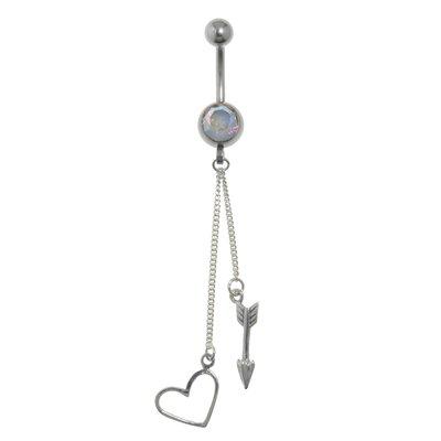 Bauchpiercing Chirurgenstahl 316L Silber 925 Kristall Herz Liebe Pfeil