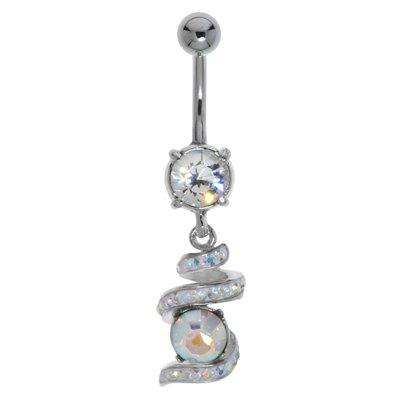 Bauchpiercing Chirurgenstahl 316L Messing rhodiniert Kristall Spirale