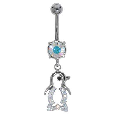 Bauchpiercing Chirurgenstahl 316L Messing rhodiniert Kristall Pinguin