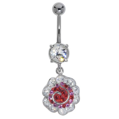 Bauchpiercing Chirurgenstahl 316L Messing rhodiniert Kristall Blume