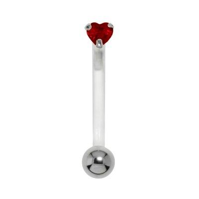 Bauchpiercing Silber 925 Chirurgenstahl 316L Bioplast Zirkonia Herz Liebe